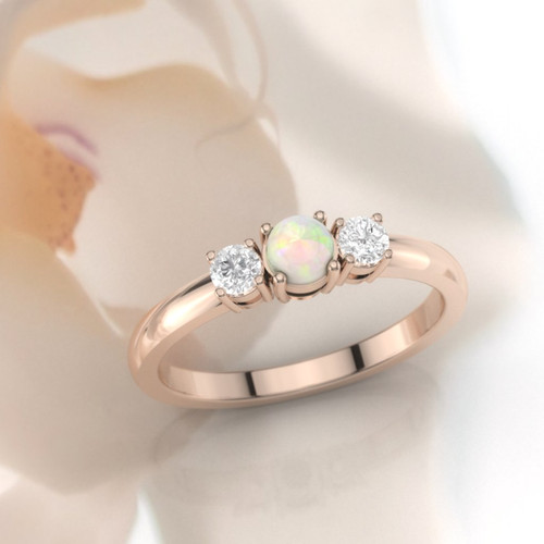 opal diamond ring side view