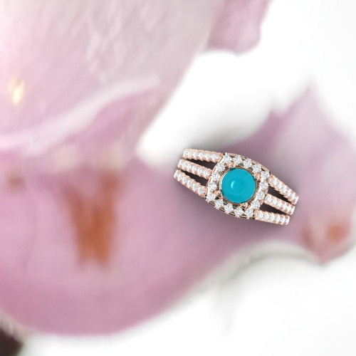 Turquoise ring. Engagement ring. Diamond and turquoise ring. Available in 14K, 18K yellow, white and rose gold also in platinum.