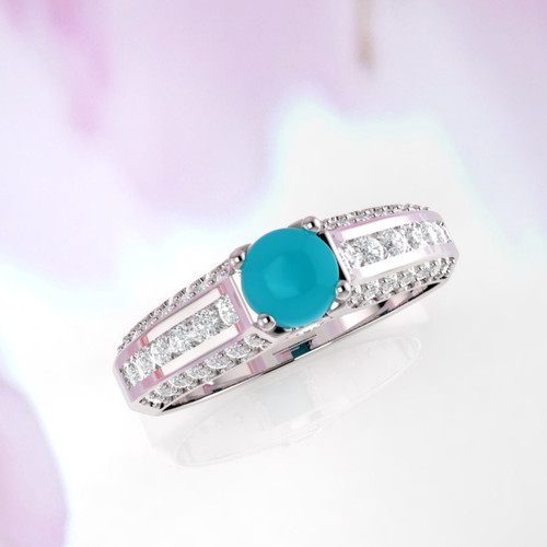 Turquoise ring. Diamond and turquoise ring. Available in 14K, 18K yellow, white and rose gold also in platinum.