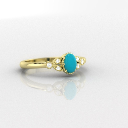 Turquoise ring. Turquoise and diamond ring. Turquoise engagement ring with fine millgrain detail. 14K, 18K or platinum.