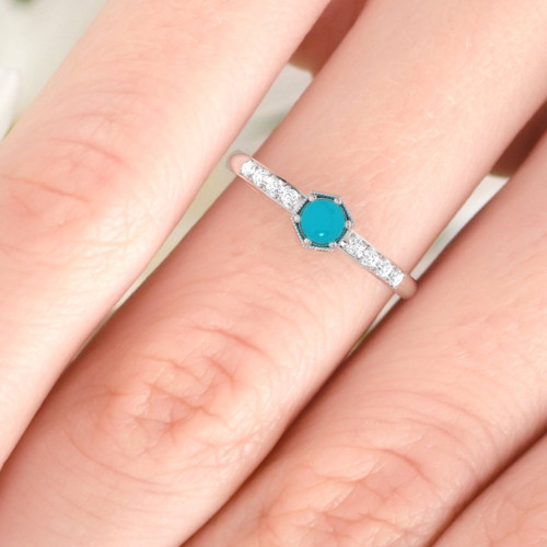 Turquoise ring. Turquoise engagement ring. Turquoise and diamond ring. Vintage inspired diamond ring. 14K, 18K, Platinum.