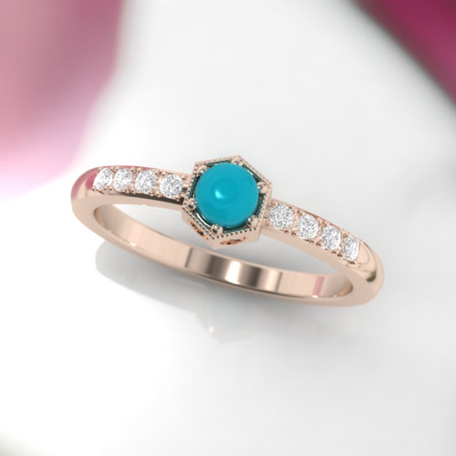 Turquoise ring. Turquoise engagement ring. Turquoise and diamond ring. Vintage inspired diamond ring. 14K, 18K, Platinum.