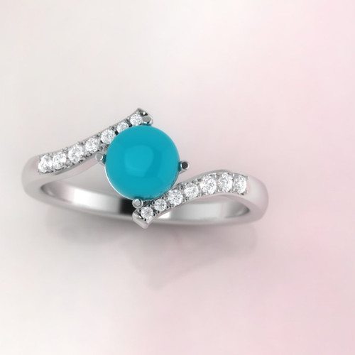 Turquoise engagement ring. Turquoise and diamond ring. Diamond twist ring.
