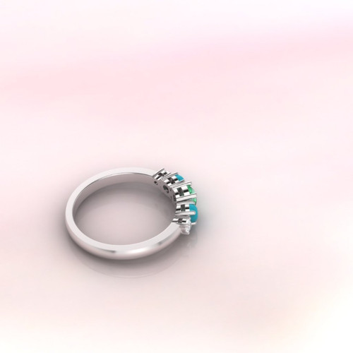 Emerald ring. Eternity ring. Engagement ring. Cocktail ring. Emerald, turquoise and diamond ring. Rose gold ring.