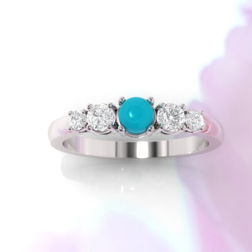 Turquoise ring. Turquoise and diamond ring. Turquoise engagement ring. Eternity ring. Engagement ring. Rose gold ring. 14K / 18K / Platinum.
