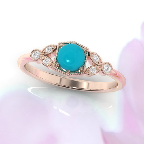 Turquoise and diamond ring. Turquoise engagement ring with fine millgrain detail. 14K, 18K or platinum.