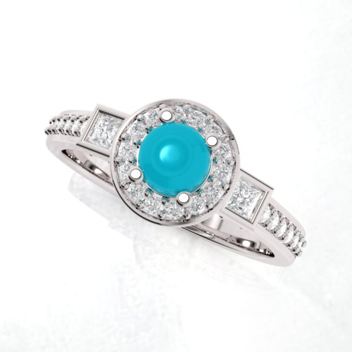 Turquoise engagement ring. Engagement ring. Diamond and turquoise ring. Available in 14K, 18K yellow, white and rose gold also in platinum.