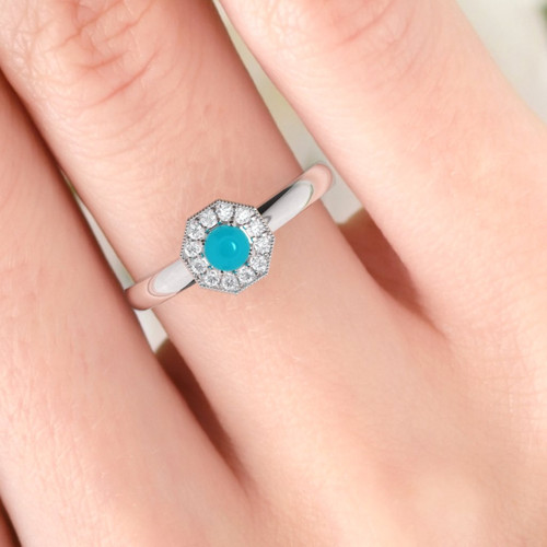 Diamond and turquoise engagement ring. Honeycomb pink turquoise and diamond ring. Available in 14K / 18K yellow, rose, white or platinum.