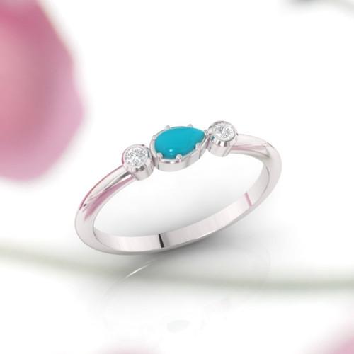 Turquoise ring. Diamond and Turquoise engagement ring. Wedding ring. 14K / 18K / Platinum.