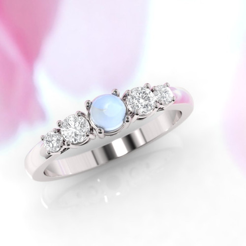 Moonstone engagement ring. Moonstone and diamond ring. Eternity ring. Engagement ring. Rose gold ring. 14K / 18K / Platinum.