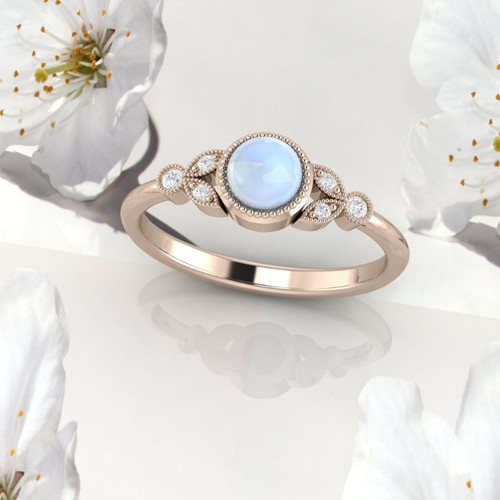 Moonstone ring. Moonstone and diamond ring. Moonstone engagement ring with fine millgrain detail. 14K, 18K or platinum.