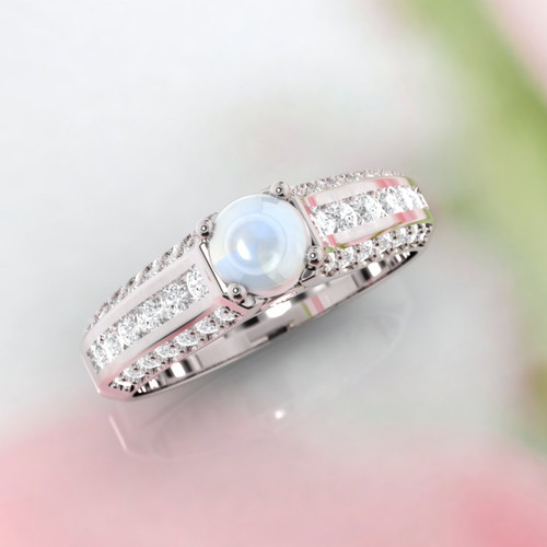 Moonstone ring. Engagement ring. Diamond and moonstone ring. Available in 14K, 18K yellow, white and rose gold also in platinum.