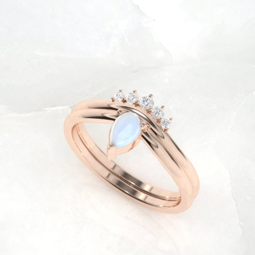 Moonstone Engagement ring. Diamond ring. Engagement ring set. Pear shape moonstone ring. Available in 14K, 18K rose, yellow and white gold.