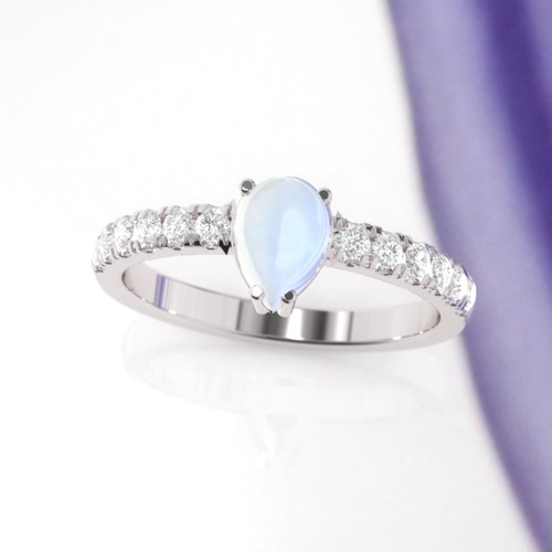 Engagement ring. Moonstone engagement ring. Moonstone and diamond ring. Available in 14K, 18K, yellow, white or rose gold. Also Platinum.