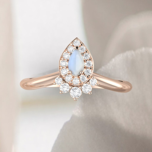 14K rose gold moonstone ring