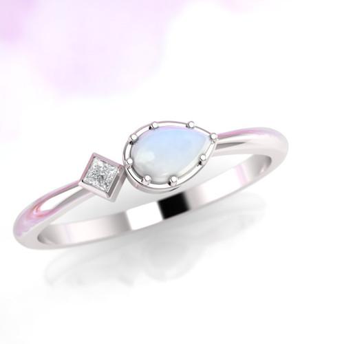 pear shape moonstone ring with princess cut diamond