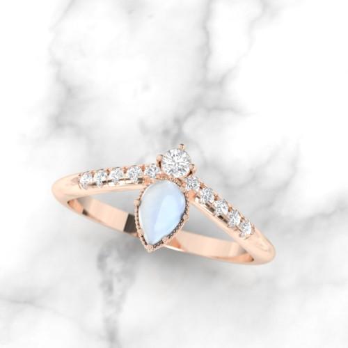 pear shape moonstone ring