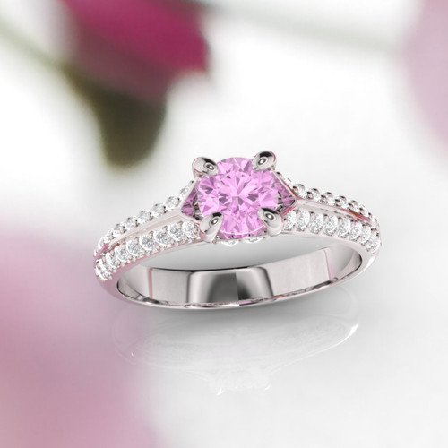 Pink sapphire and diamond ring. Engagement ring. Diamond and sapphire ring. Available in 14K, 18K yellow, white and rose gold.