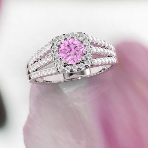 Pink sapphire and diamond ring. Engagement ring. Diamond and sapphire ring.  14K, 18K yellow, white and rose gold.