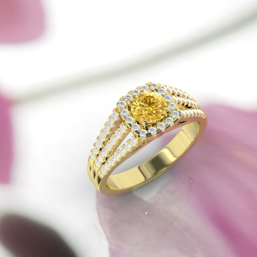 Yellow sapphire and diamond ring. Engagement ring. Diamond and sapphire ring. Available in 14K, 18K yellow, white and rose gold.