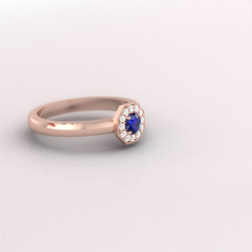Diamond and sapphire engagement ring. Honeycomb sapphire and diamond ring. Available in 14K / 18K yellow, rose, white or platinum.