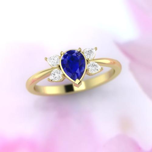 pear cut sapphire ring