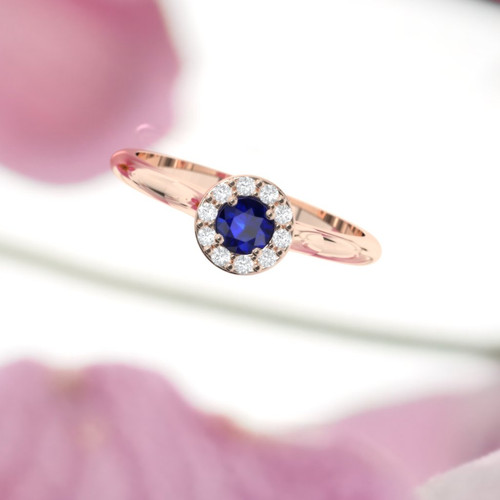 Engagement ring. Sapphire and diamond ring. Brilliant cut round diamond. Available in 14K, 18K, yellow, rose or white gold.