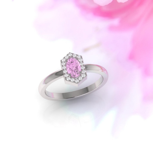 Engagement ring. Stunning pink sapphire and diamond ring. Vintage inspired ring. Available in 18K, 14K, yellow, rose or white gold.