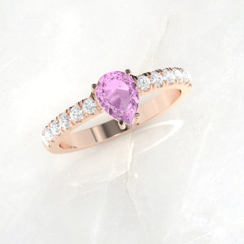 Engagement ring. Pink sapphire engagement ring. Sapphire and diamond ring. Available in 14K, 18K, yellow, white or rose gold.
