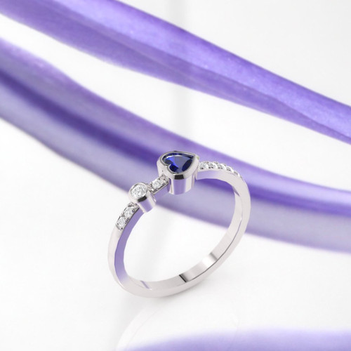 The Sapphire Dalisay ring. Ruby engagement ring. Wedding ring. Eternity ring. Heart diamond ring. 14K, 18K Platinum.
