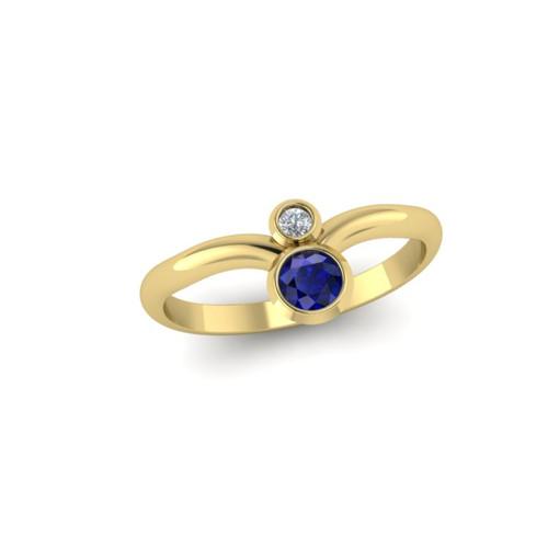 yellow gold round sapphire ring with white diamond