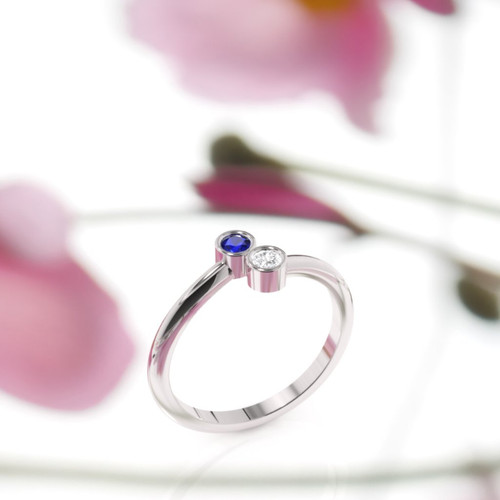 side view of sapphire and diamond two stone ring