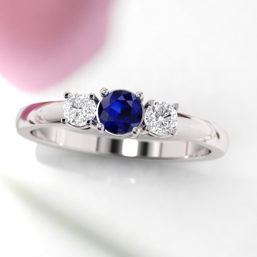 white gold diamond and sapphire three stone ring