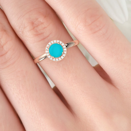 Turquoise and diamond ring. Dainty rose gold diamond ring. Available in 14K and 18K rose, yellow and white gold.
