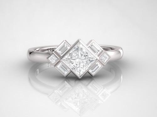 Art deco ring. Princess diamond ring. Diamond engagement ring. 14K, 18K or platinum.