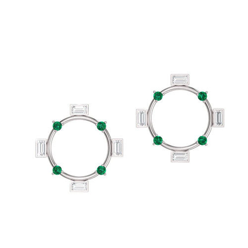 diamond and emerald earrings in platinum