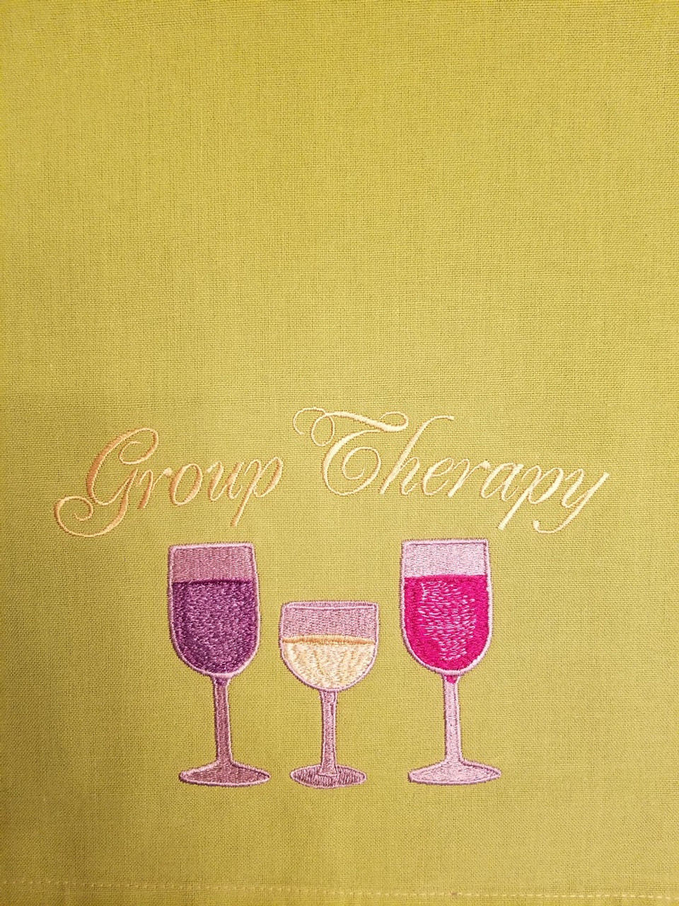 """Group Therapy 1 - Kitchen Towel - 20"""" x 28"""" Embroidery on a lime colored towel. 100% Cotton with loop, for optional hanging. Machine washable in cool water and tumble dry at low temperature. Minimal shrinkage. Size: 20"""" x 28"""""""