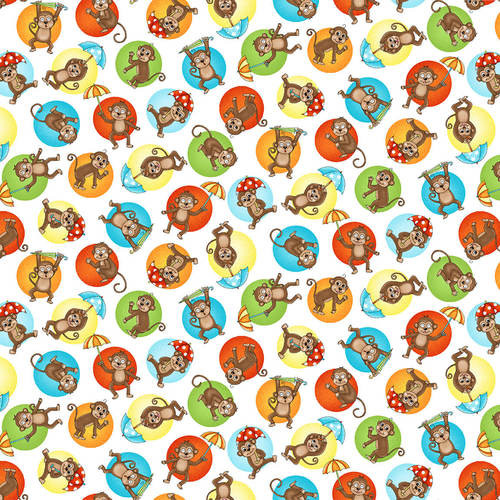 Two by Two - Big Dot Monkey - Studio e - Fabric - 100% Cotton Monkeys on large multi colored dots all over a white background.