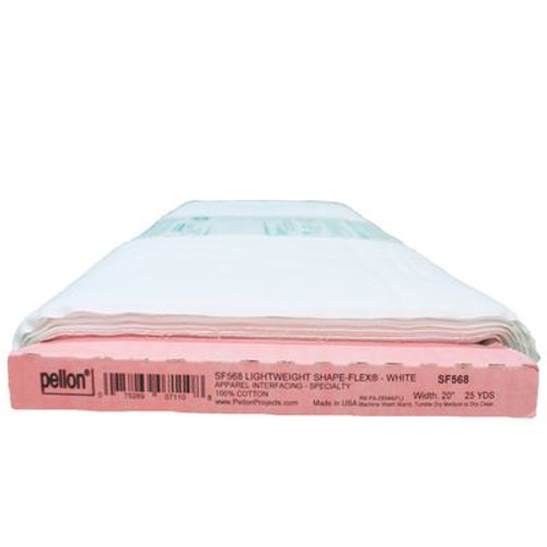 """Lightweight Shape-Flex - Fusible - Pellon - White - 20"""" wide This woven, fusible interfacing is flexible. It is great for many uses, including collars, cuffs, purses, wallets, etc. Machine washable, dry clean safe, wash in warm water, dry on medium heat, iron on wool/steam setting. 100% cotton Sold by the yard"""