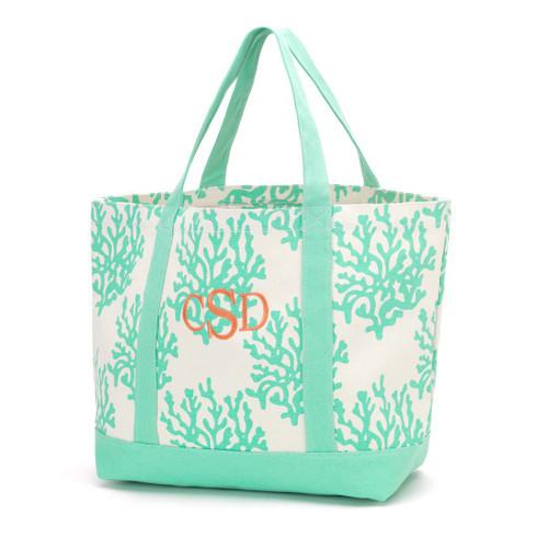 Mint Coral Canvas Tote Bag