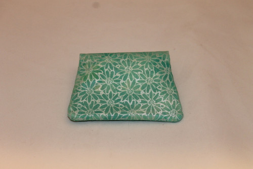 Credit Card / ID Wallet - Green Shimmer Flowers 19