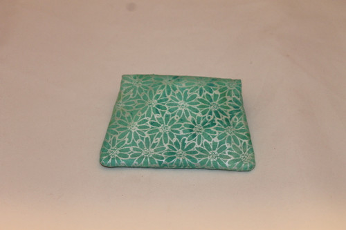 Credit Card / ID Wallet - Green Shimmer Flowers 20