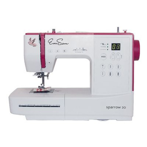EVERSEWN Sparrow 20 - 80 stitch, computerized sewing machine. Features include: LCD Display, Drop-in Hook System, 163mm Free arm length, 850 spm (Maximum sewing speed), Upper-thread tension - manually adjustable, Manual thread cutter, Start/stop button, LED sewing light, Needle stop up/down, Twin- needle capability, Slide speed control, 2-step presser foot lift, Electric foot control, 6 (1-step) Buttonholes including eyelets, 14 Utility stitches including stretch stitches, 1 Darning stitch, 49 Decorative stitches, 10 Quilting stitches, 7mm Maximum stitch width, 4.5mm Maximum stitch length, Drop feed-dog, Automatic bobbin winder, Automatic Securing Function, 7 presser feet, and a dust cover.