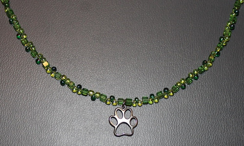 Green Beaded Necklace with Paw Charm