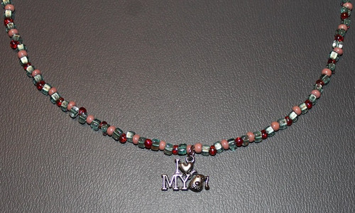 Pink and Light Turquoise Beaded Necklace with I Love My Dog Charm