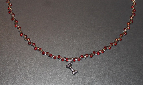 Red Beaded Necklace with Dog Bone Charm