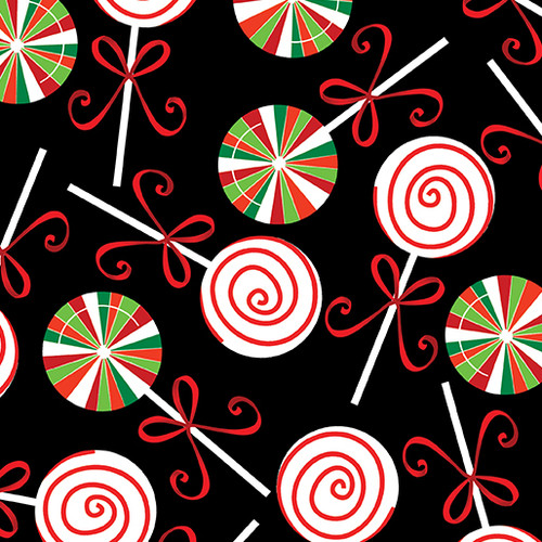 Christmas Lollipops - Black - Holiday Cheer - Fabric - Kanvas - Benartex