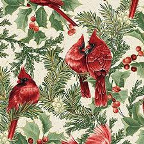 Birds in Bough Nestled - Cream - Fabric - Benartex