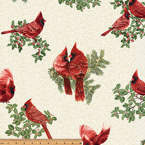 Backyard Cardinals - Cream - Fabric - Benartex