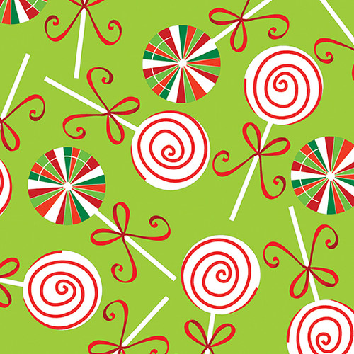 Christmas Lollipops - Lime - Fabric - Benartex